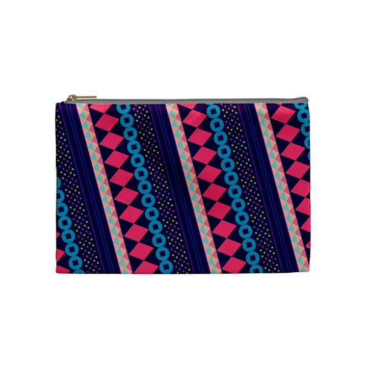 Purple And Pink Retro Geometric Pattern Cosmetic Bag (Medium)