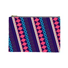 Purple And Pink Retro Geometric Pattern Cosmetic Bag (large)  by DanaeStudio