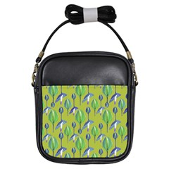 Tropical Floral Pattern Girls Sling Bags