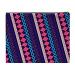Purple And Pink Retro Geometric Pattern Cosmetic Bag (XL) Back
