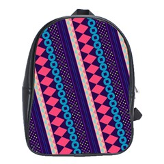 Purple And Pink Retro Geometric Pattern School Bags(large)  by DanaeStudio