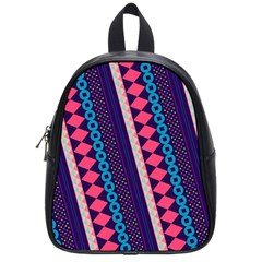 Purple And Pink Retro Geometric Pattern School Bags (small)  by DanaeStudio
