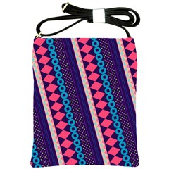 Purple And Pink Retro Geometric Pattern Shoulder Sling Bags by DanaeStudio