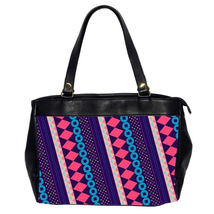 Purple And Pink Retro Geometric Pattern Office Handbags (2 Sides)