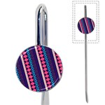 Purple And Pink Retro Geometric Pattern Book Mark Front