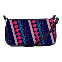 Purple And Pink Retro Geometric Pattern Shoulder Clutch Bags by DanaeStudio