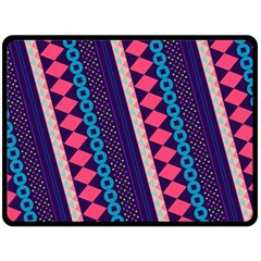 Purple And Pink Retro Geometric Pattern Fleece Blanket (large)  by DanaeStudio