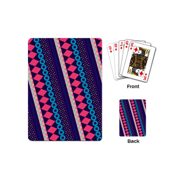 Purple And Pink Retro Geometric Pattern Playing Cards (Mini)
