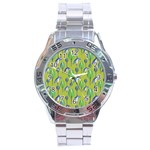 Tropical Floral Pattern Stainless Steel Analogue Watch