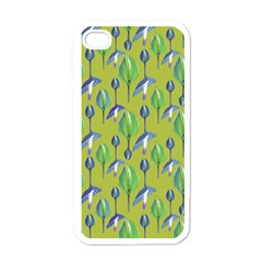 Tropical Floral Pattern Apple iPhone 4 Case (White)