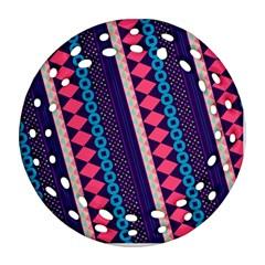 Purple And Pink Retro Geometric Pattern Ornament (Round Filigree)