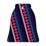 Purple And Pink Retro Geometric Pattern Ornament (Bell)  Front