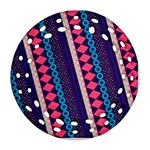 Purple And Pink Retro Geometric Pattern Round Filigree Ornament (2Side) Back