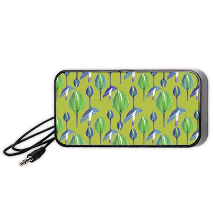 Tropical Floral Pattern Portable Speaker (Black)