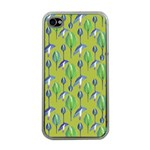 Tropical Floral Pattern Apple iPhone 4 Case (Clear)