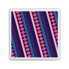 Purple And Pink Retro Geometric Pattern Memory Card Reader (square)
