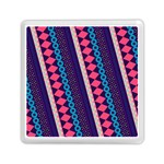 Purple And Pink Retro Geometric Pattern Memory Card Reader (Square)  Front