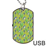 Tropical Floral Pattern Dog Tag USB Flash (Two Sides)