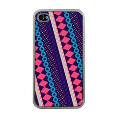 Purple And Pink Retro Geometric Pattern Apple Iphone 4 Case (clear)