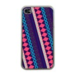 Purple And Pink Retro Geometric Pattern Apple iPhone 4 Case (Clear) Front