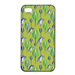 Tropical Floral Pattern Apple iPhone 4/4s Seamless Case (Black)