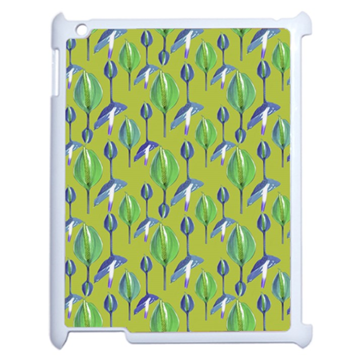Tropical Floral Pattern Apple iPad 2 Case (White)