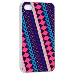 Purple And Pink Retro Geometric Pattern Apple Iphone 4/4s Seamless Case (white) by DanaeStudio