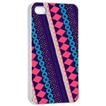 Purple And Pink Retro Geometric Pattern Apple iPhone 4/4s Seamless Case (White) Front