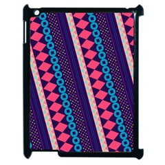 Purple And Pink Retro Geometric Pattern Apple Ipad 2 Case (black) by DanaeStudio
