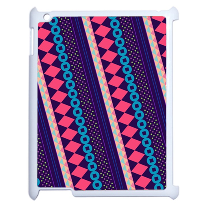 Purple And Pink Retro Geometric Pattern Apple iPad 2 Case (White)