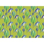 Tropical Floral Pattern Circle Bottom 3D Greeting Card (7x5) Back