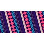 Purple And Pink Retro Geometric Pattern Twin Heart Bottom 3D Greeting Card (8x4) Back