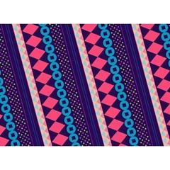 Purple And Pink Retro Geometric Pattern Birthday Cake 3D Greeting Card (7x5)