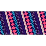 Purple And Pink Retro Geometric Pattern Happy New Year 3D Greeting Card (8x4) Front