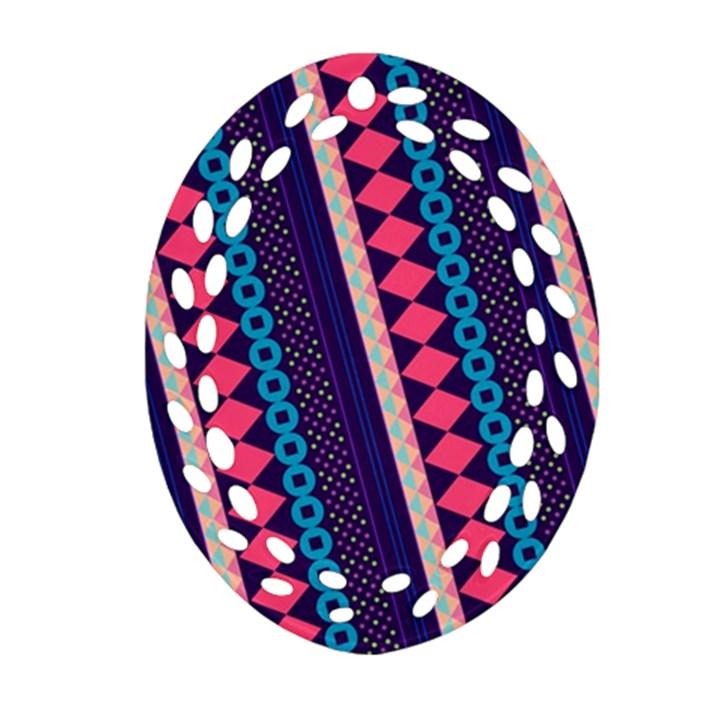 Purple And Pink Retro Geometric Pattern Oval Filigree Ornament (2-Side)