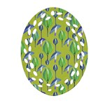 Tropical Floral Pattern Oval Filigree Ornament (2-Side)