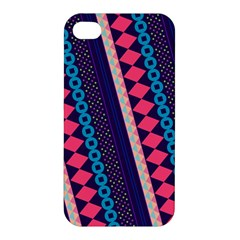 Purple And Pink Retro Geometric Pattern Apple Iphone 4/4s Premium Hardshell Case by DanaeStudio