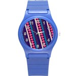 Purple And Pink Retro Geometric Pattern Round Plastic Sport Watch (S) Front