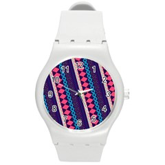 Purple And Pink Retro Geometric Pattern Round Plastic Sport Watch (m)