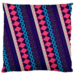 Purple And Pink Retro Geometric Pattern Large Cushion Case (two Sides) by DanaeStudio