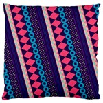 Purple And Pink Retro Geometric Pattern Large Cushion Case (Two Sides) Back