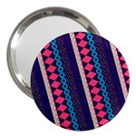 Purple And Pink Retro Geometric Pattern 3  Handbag Mirrors Front
