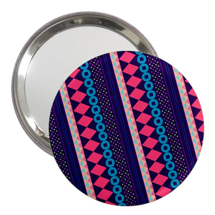 Purple And Pink Retro Geometric Pattern 3  Handbag Mirrors