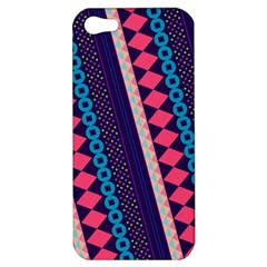 Purple And Pink Retro Geometric Pattern Apple Iphone 5 Hardshell Case by DanaeStudio