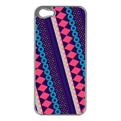 Purple And Pink Retro Geometric Pattern Apple Iphone 5 Case (silver) by DanaeStudio