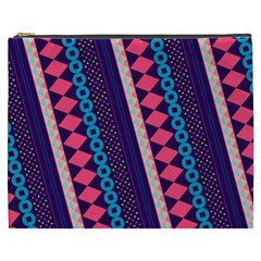 Purple And Pink Retro Geometric Pattern Cosmetic Bag (xxxl)  by DanaeStudio