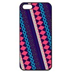 Purple And Pink Retro Geometric Pattern Apple iPhone 5 Seamless Case (Black) Front