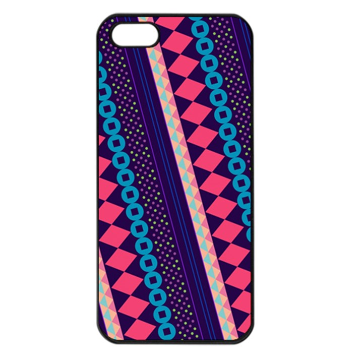 Purple And Pink Retro Geometric Pattern Apple iPhone 5 Seamless Case (Black)
