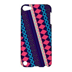 Purple And Pink Retro Geometric Pattern Apple Ipod Touch 5 Hardshell Case by DanaeStudio