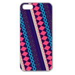 Purple And Pink Retro Geometric Pattern Apple Seamless iPhone 5 Case (Clear) Front